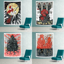 Retro Poster Tapestry Wall Hanging Witchcraft Hippie Beach Throw Rug Carpet Monster Tapestries Bohemian Home Art