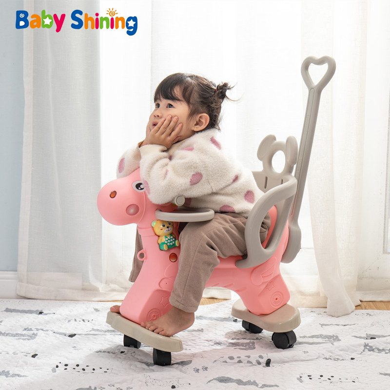 Baby Shining 2 In 1 Kids Horse Stroller 2-4Y Children Rocking Chair Riding Horse Trolley Kids Wheelchair Equestrian Ride On Toys