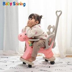 Bebé brillante 2 en 1 niños cochecito de caballo 2-4 y niños mecedora montar caballo carrito niños silla de ruedas paseo ecuestre en juguetes