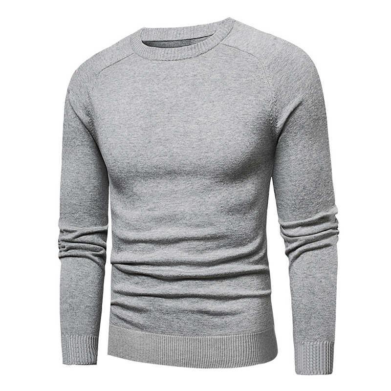 Muls 솔리드 스웨터 남성 pollovers 코튼 니트 스웨터 남성 점퍼 풀오버 일반 o-넥 니트 폴로 셔츠 저지 다크 그레이