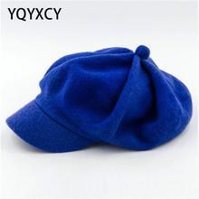Hats Octagonal-Cap Newsboy-Cap Beret Women Winter Wool for Thick Warm Female England