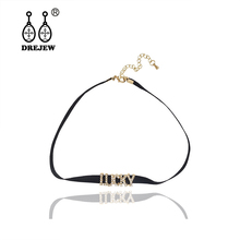DREJEW Gold Big Letter Fadear Lucky Angel Choker Black Long Crystal Link Chain Necklaces Sets for Women Wedding Jewelry HN333