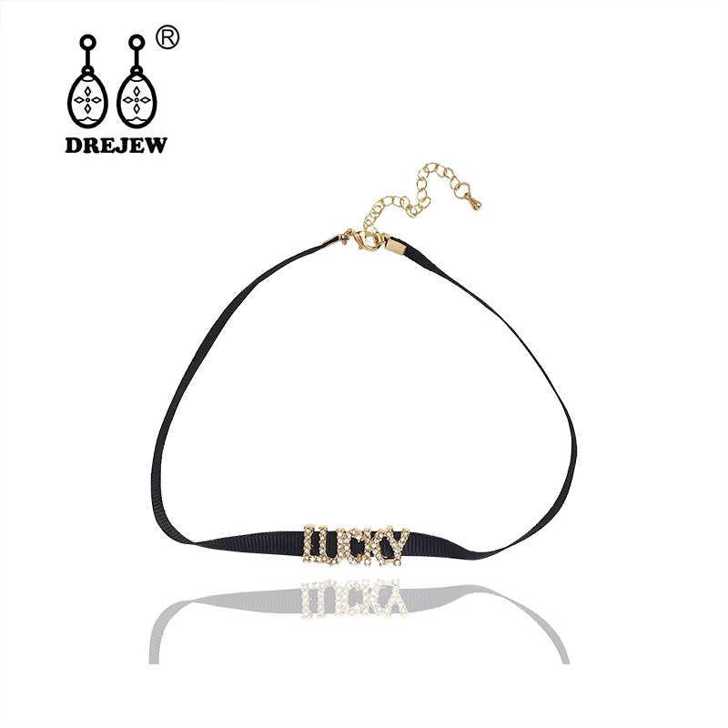 DREJEW złoty duży list Fadear Lucky Angel Choker czarny długi łańcuszek ogniwowy z kryształami zestawy naszyjników dla kobiet biżuteria ślubna