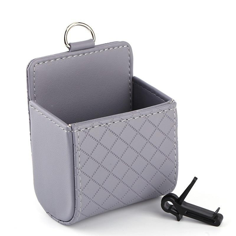 Oppselve Universal Car Outlet Storage Bag for Phones PU Leather Tidy Case Organizer Car Mount Multi-function Organizer Holder Pakistan