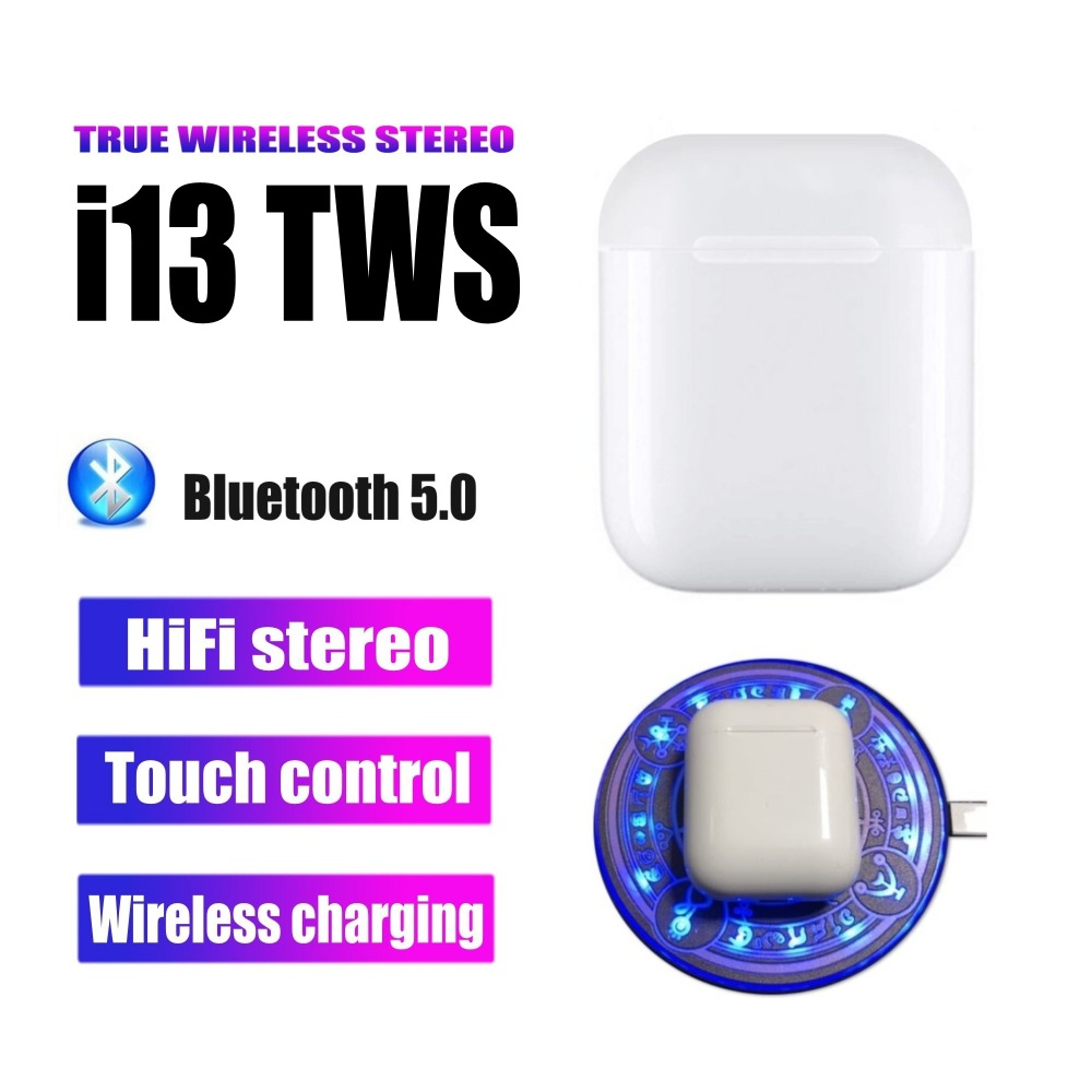 <font><b>i13</b></font> <font><b>tws</b></font> Wireless Bluetooth Earphone Smart Touch 5.0 Stereo Headphones Bass Earbuds With <font><b>Pop</b></font> <font><b>Up</b></font> Window And Wireless Charging image