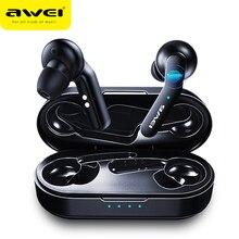 Orijinal AWEI T10C TWS kablosuz Bluetooth kulaklık kulaklık dokunun kontrol kulaklık Handsfree iPhone için gerçek kablosuz kulakiçi
