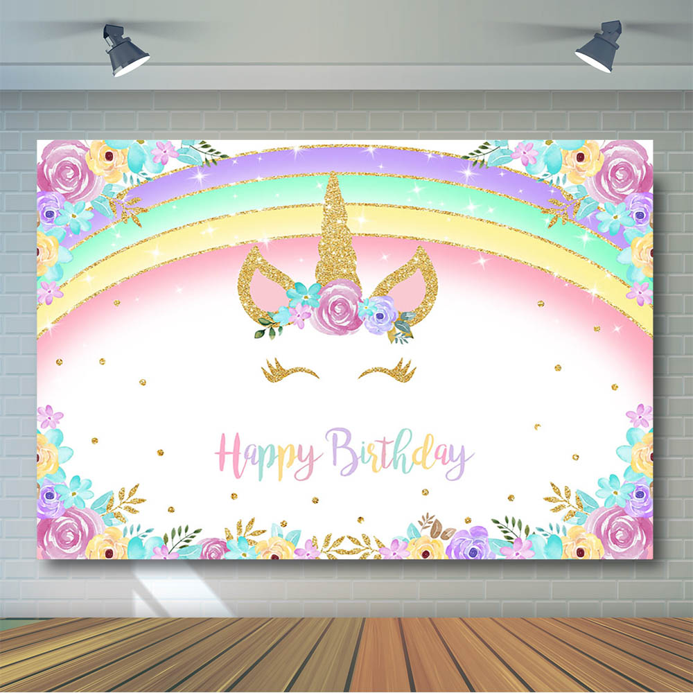 Rainbow Unicorn Birthday Backdrop Gold Glitter Unicorn Floral Party Decoration Background Party Banner Supplies Photocall Props