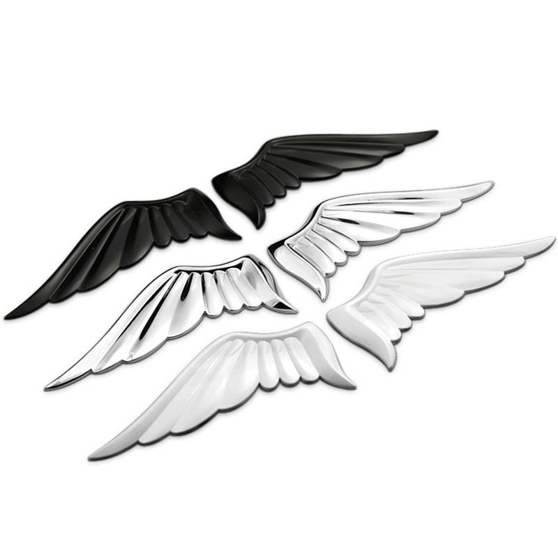2Pcs 3D Metal Stickers Angel Hawk Wings Emblem Car Fender Body Rear Trunk Badge For Nissan Ford  Volvo Honda Civic Accessories