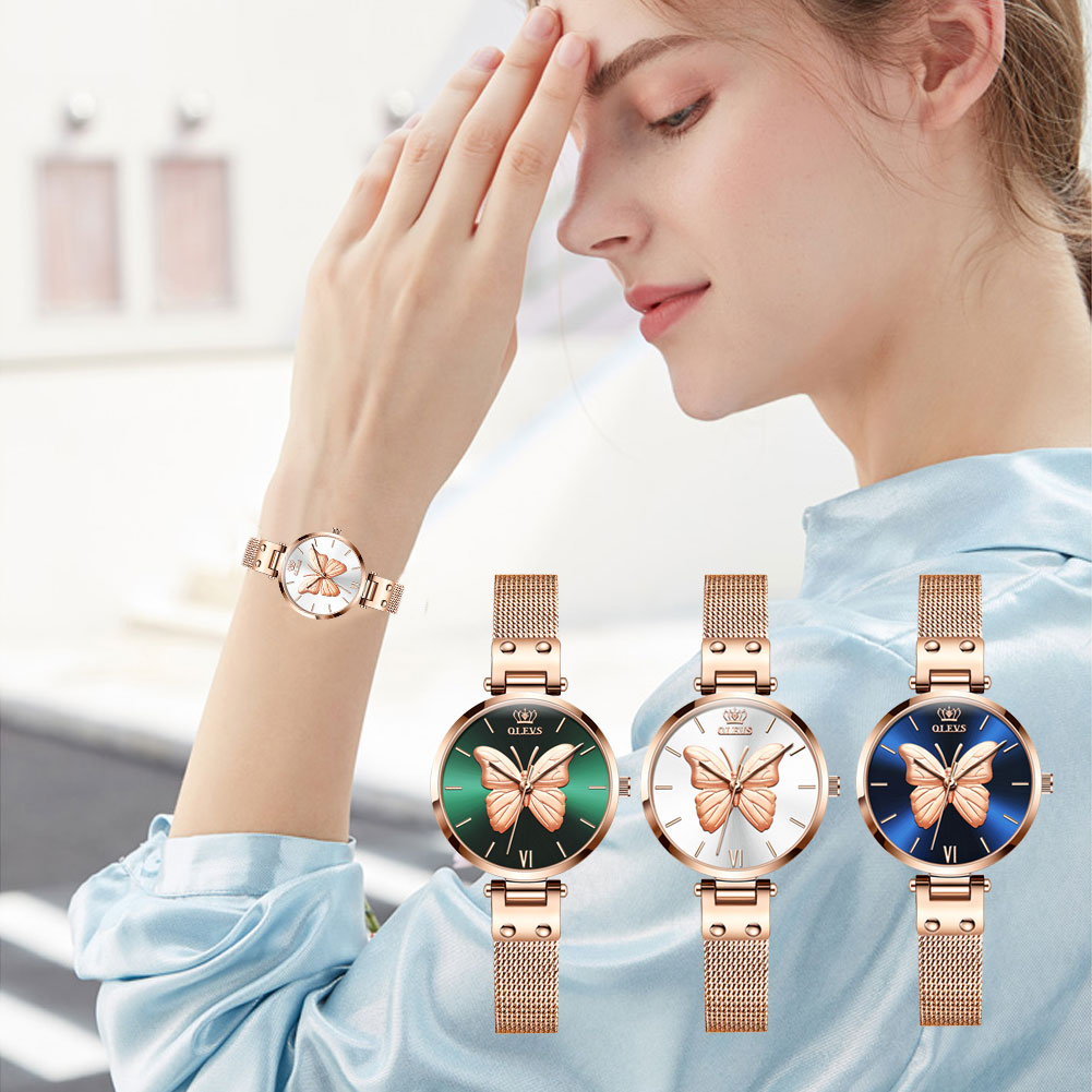 OLEVS Women Butterfly Watch Fashion And Casual Waterproof Rose Gold Mesh Steel Strip Quartz Bracelet Wristwatch Gifts For Ladies