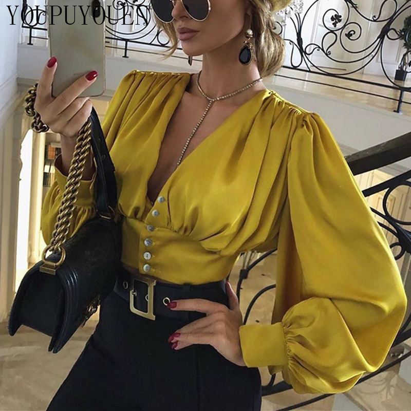 Women Lantern Long Sleeve Blouse Crop Top V-neck Casual Party Elegant Shirt Woman Fashion Clothes Summer Yellow Short Blouses