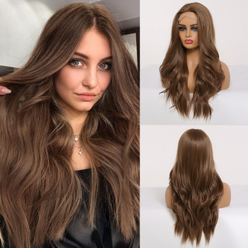 цена на EASIHAIR Brown Lace Front Wig Synthetic Long Wavy Wigs for Women Body Wave Lace Wig Natural High Density Heat Resistant Wig DIY