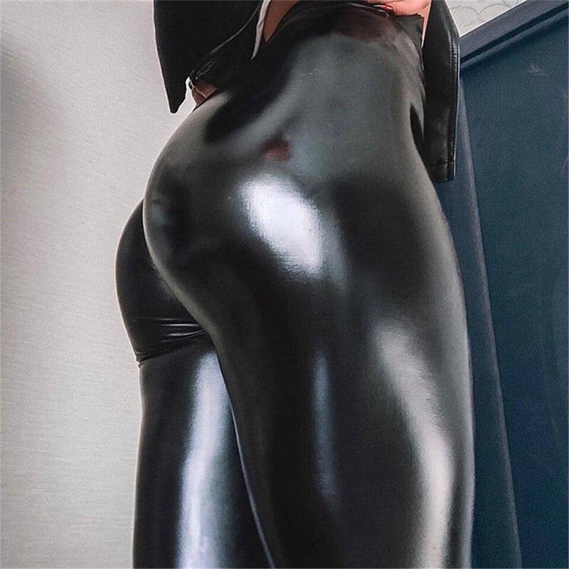 Women Ladies Wet Look PU Leather Thin Light Leggings Pants High Waist Push Up Slim Fit Leggings Sexy Elastic Trousers 5XL