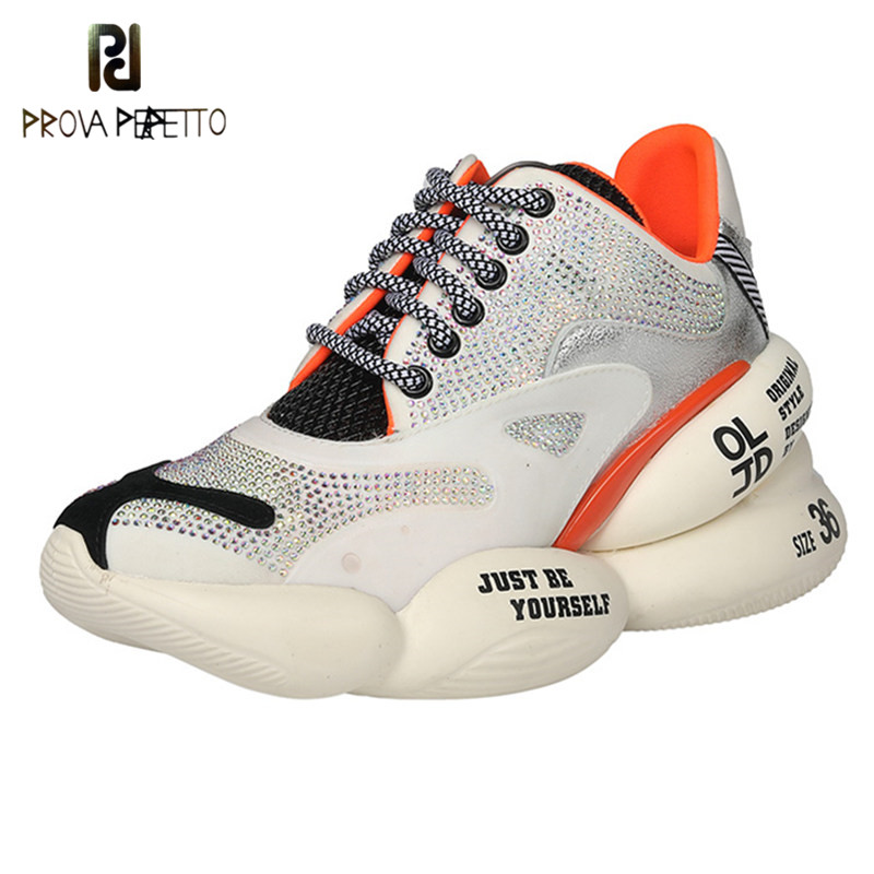Prova Perfetto Sexy Chunky Sneakers Women Spring And Autumn Lace-Up Shoes Woman Platform Sneakers Breathable Chaussures Femme