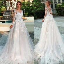 Mangas compridas vestido de casamento ilusão renda apliques com cinto vestidos de noiva botão traseiro e rendas até vestido de noiva