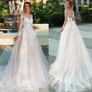 Image 1 - Mangas compridas vestido de casamento ilusão renda apliques com cinto vestidos de noiva botão traseiro e rendas até vestido de noiva