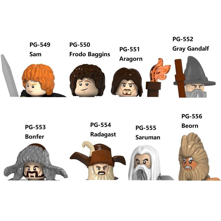 В Властелин колец Сэм Фродо Арагорн серый Гэндальфа Bonfer Саруман беорн Радагаст блоки мини-фигуркы игрушки