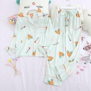Smmoloa, conjunto de pijama Sexy de satén para mujer, Top de manga larga + Pantalones, ropa de dormir estampada para otoño, ropa de hogar femenina