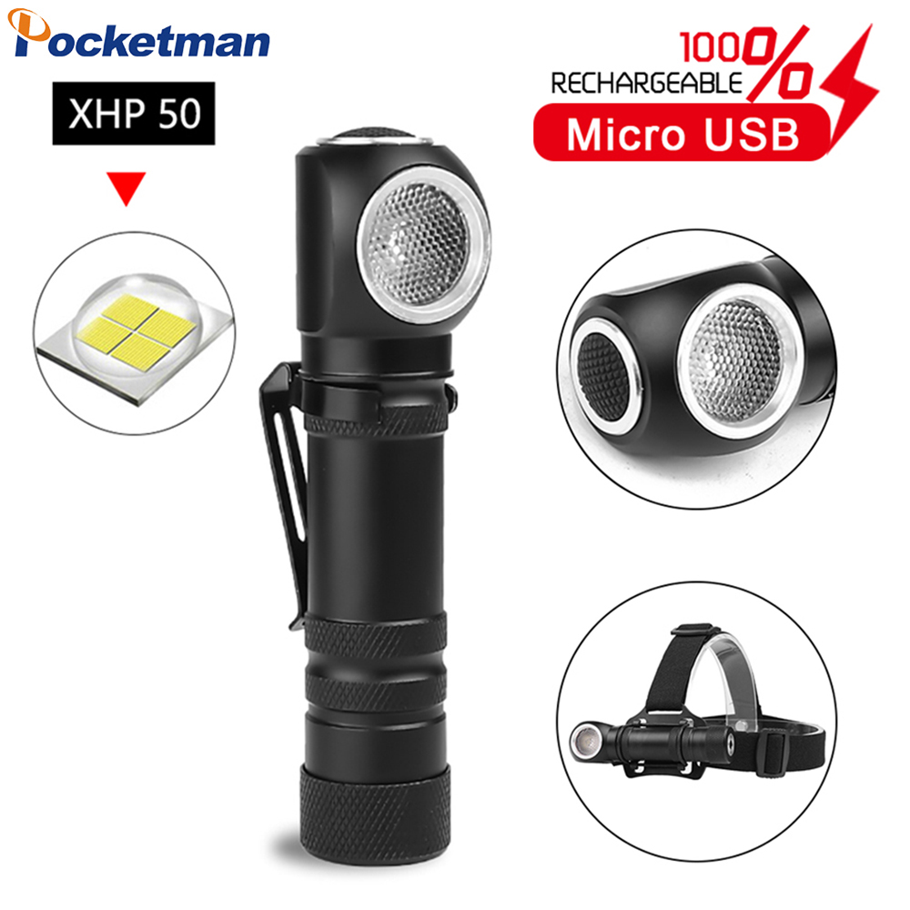 New Multifunctional Magnetic Flashlight XHP50 LED Torch USB Rechargeable Flashlight 18650 Built-in Battery Head Front Torch