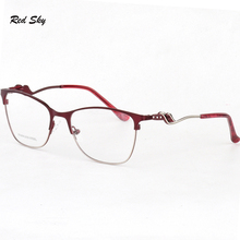 Retro Metal Optical Glasses Frame Men Women Prescription Eyeglasses Luxury Crystal Diamond Stainless Steel