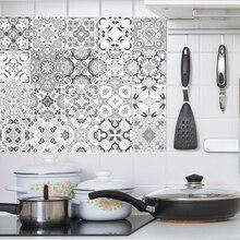 Azulejos Vintage grises, pegatinas para baño, cocina, salpicaduras, impermeables, PVC, pegatinas para pared, decoración del hogar, calcomanías artísticas de pared 20x100cm