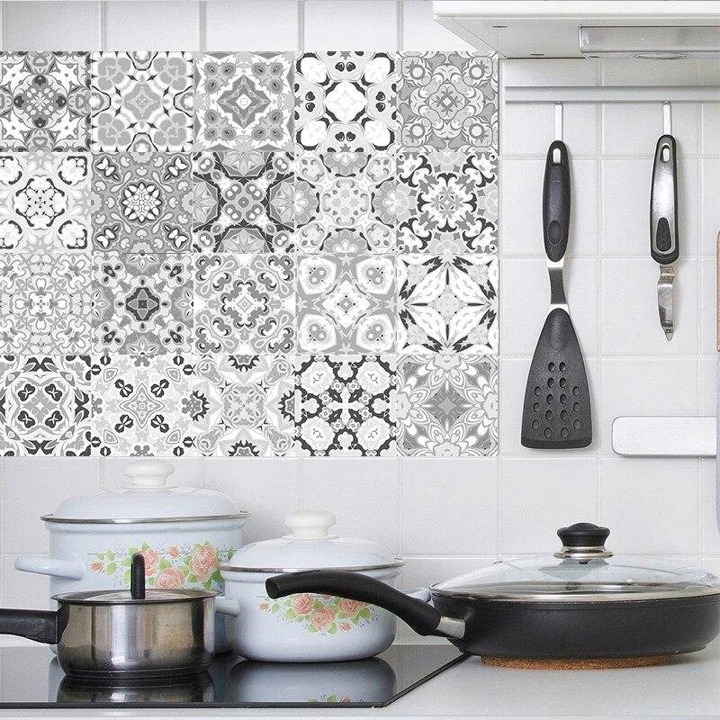 Pack of 16 tiles Tile Decals Art for Walls Kitchen backsplash Bathroom Decorative Tiles Stickers Elx