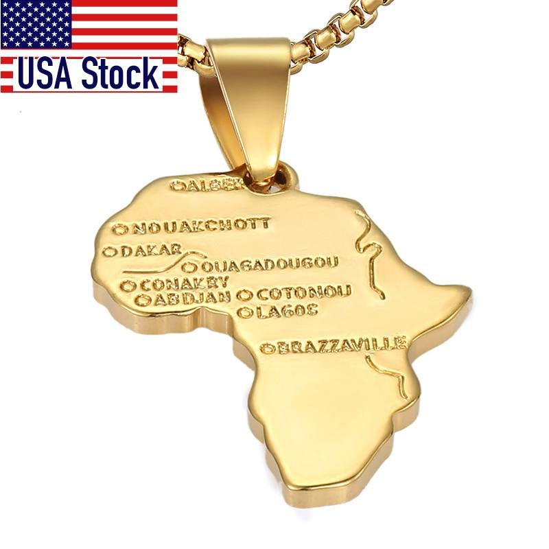 Цепочка с подвеской в виде карты Африки, GP56