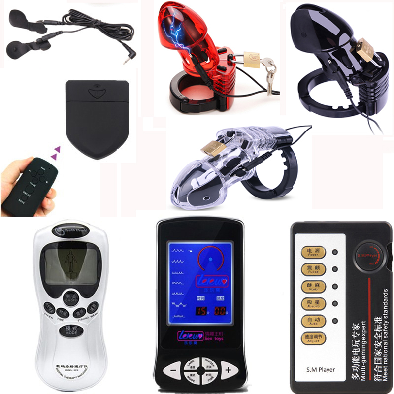 Electro Shock  CB6000 Chastity Device Cock Cage Male Lock With Adjustable Penis Ring,Electro Shock Scrotum Bound Ring Sex Toys