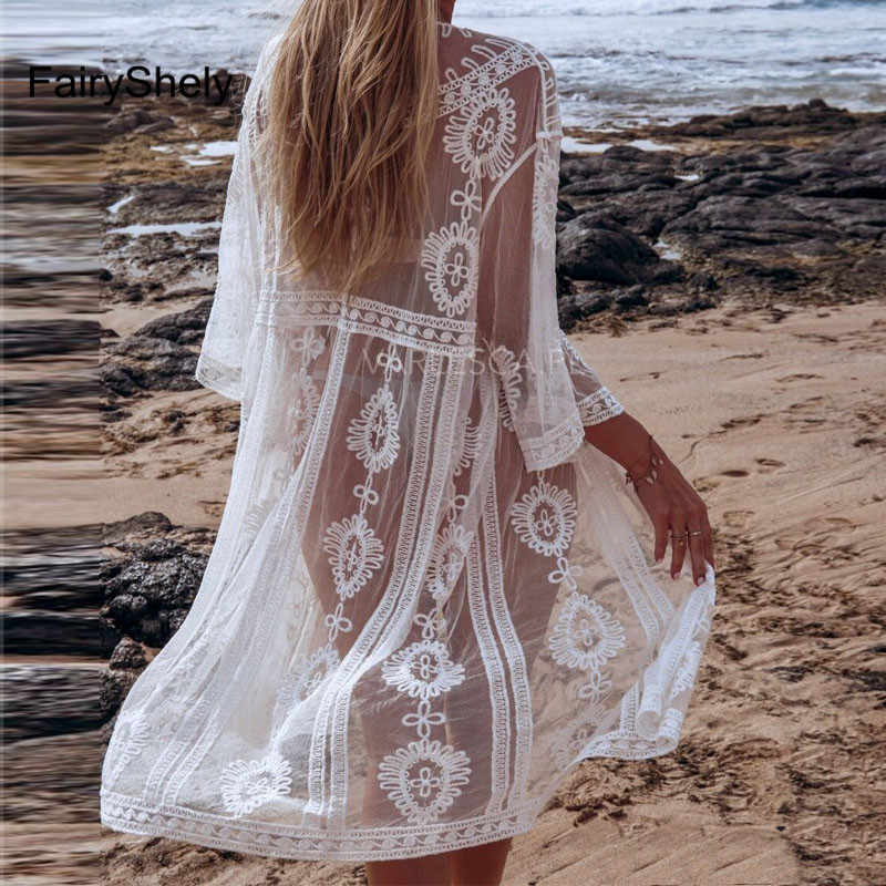 2020 osłona do bikini Up Hollow Tie Mesh Crochet Beach Dress kobiety lato tuniki cover Up Swim kostium kąpielowy bikini Lace Long