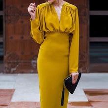 Lo. A. Ş. OL pilili bölünmüş kadın parti elbise derin v yaka zarif uzun elbiseler kadın 2020 yaz sonbahar moda bayanlar Vestidos