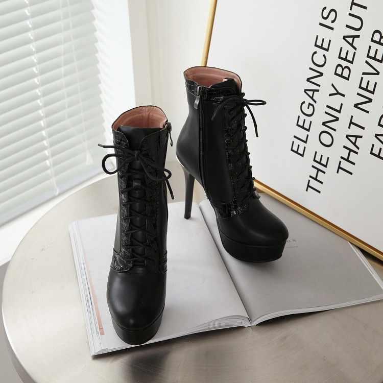 Tamanho grande 9 10 11 12 botas mulheres sapatos ankle boots para mulheres senhoras botas de inverno sapatos mulher cinta Cruz laterais com zíper no calcanhar