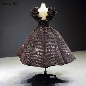 Image 2 - שחור זהב V צוואר יוקרה ערב שמלות 2020 שרוולים נצנצים Sparkle תה אורך פורמליות שמלת Serene היל HA2306