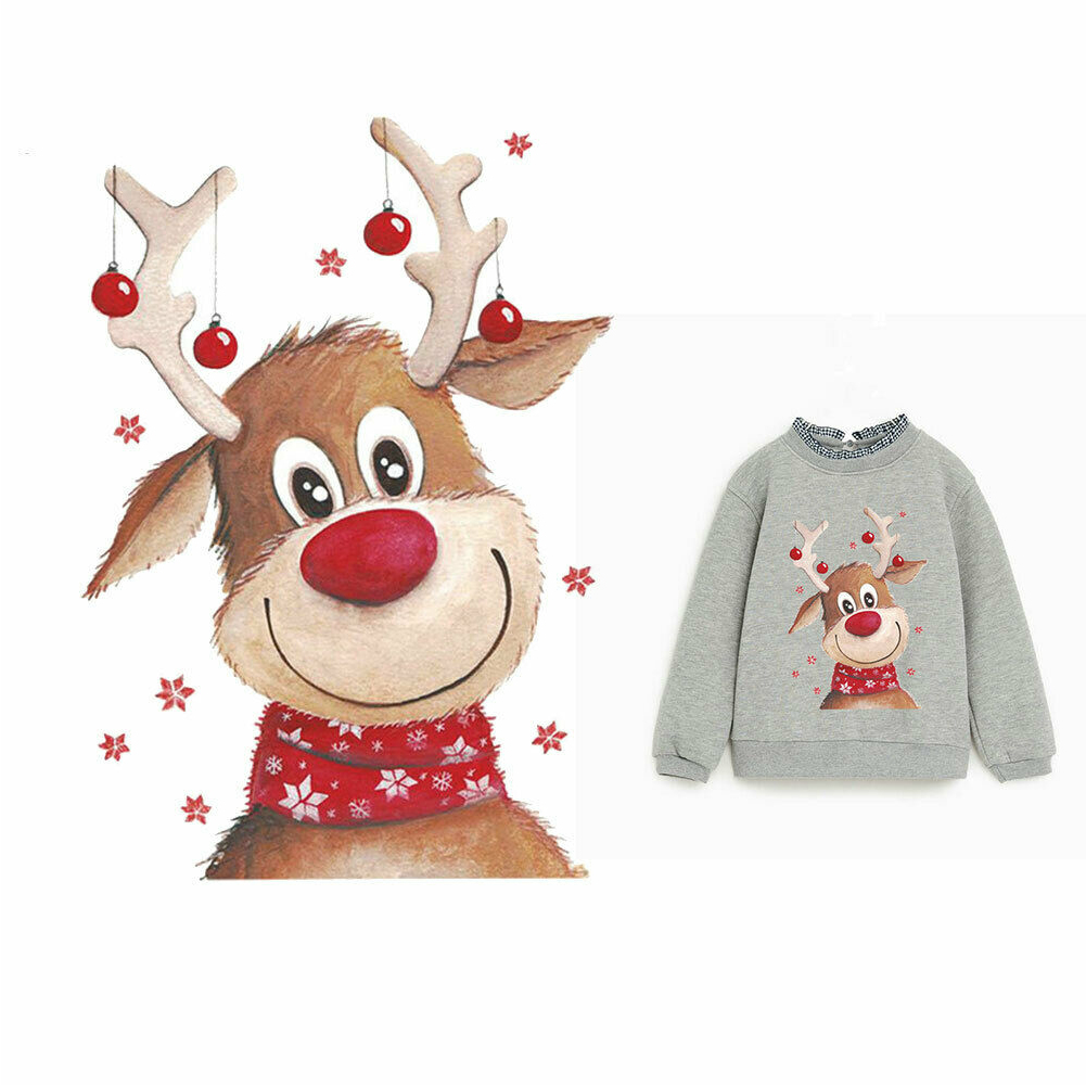 Sticker DIY Accessories Heat Transfer Tool Easy Use Hoodie Thermal Iron-on Cute T-Shirt Clothes <font><b>Patch</b></font> Home Christmas <font><b>Deer</b></font> Kids image