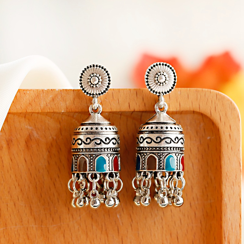 H8cae6dcf10354a9db8fe10ed6c268b3ck - Retro Bollywood Oxidized Womens Jewellery Ethnic Silver Plated Afghan Bell Tassel Drop Jhumka Indian Earrings Wedding Jewelry