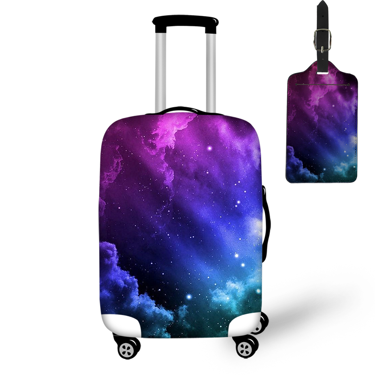 Thikin Convenience Travel Luggage Cover And Tag With Pretty Colorful Galaxy Print Pattern Box Case Simple Covers For Tourism