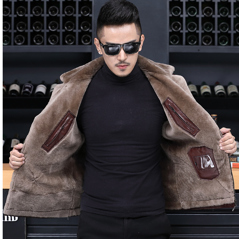 Genuine Leather Jacket Men Winter Short Real Sheepskin Coat For Men Natural Wool Liner Chaqueta Cuero Hombre F-8883