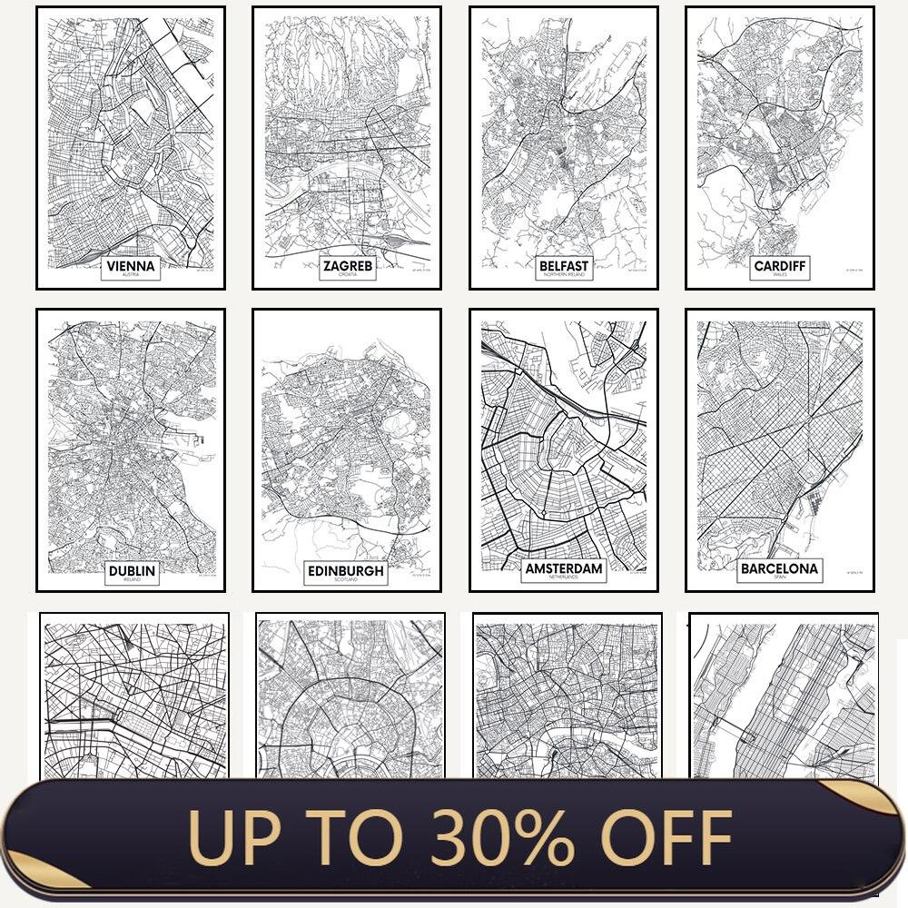 Черно-белые постеры и печатные карты города Париж Лондон Нью-Йорк нордические украшения дома холст живопись