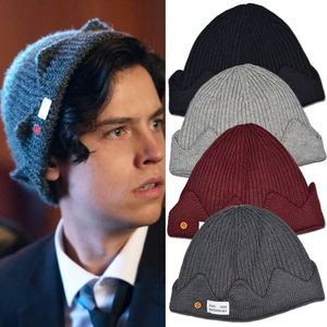 Jughead Jones Riverdale Beanie Knitted Hat Cosplay Props Winter Unisex Warm Crown Cap Embroidered Dome Hat