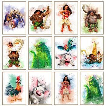 Disney Movie Moana obraz na płótnie obraz plakat Pua Hei Hei Te Fiti postacie akwarela obraz ścienny do pokoju dziecięcego Home Decor tanie i dobre opinie CN (pochodzenie) Wydruki na płótnie Pojedyncze PŁÓTNO Wodoodporny tusz cartoon bez ramki abstrakcyjne MD201 Malowanie natryskowe