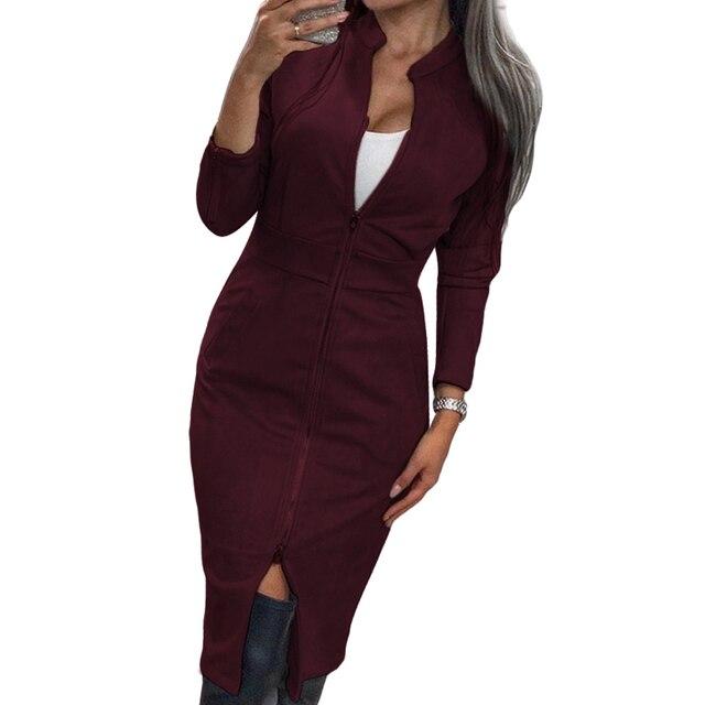 Женское винтажное офисное платье TAOVK, облегающее платье на молнии с длинным рукавом и воротником-стойкой 4