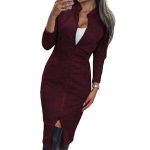 Image 4 - TAOVK 여성 복장 긴 소매 Bodycon 지퍼 빈티지 스탠드 칼라 Office 여성용 드레스