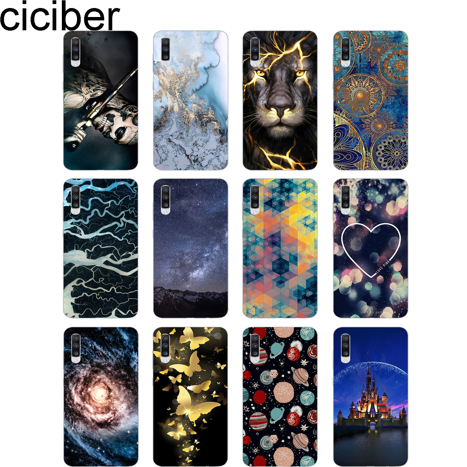 ciciber for <font><b>Samsung</b></font> Galaxy A60 <font><b>A70</b></font> A80 Phone Case Soft Silicone Cover Fundas Flower and Animal Scenery Planet Coque Capa <font><b>Hoesje</b></font> image