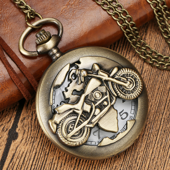 Antique Retro Bronze Motorcycle Hollow Quartz Pocket Watch Necklace Fob Chain Pendant Clock Steampunk Men Best Gift Dropshipping retro bronze men fashion pocket watch national austria the double eagle chain necklace quartz full hunter emblem clock male