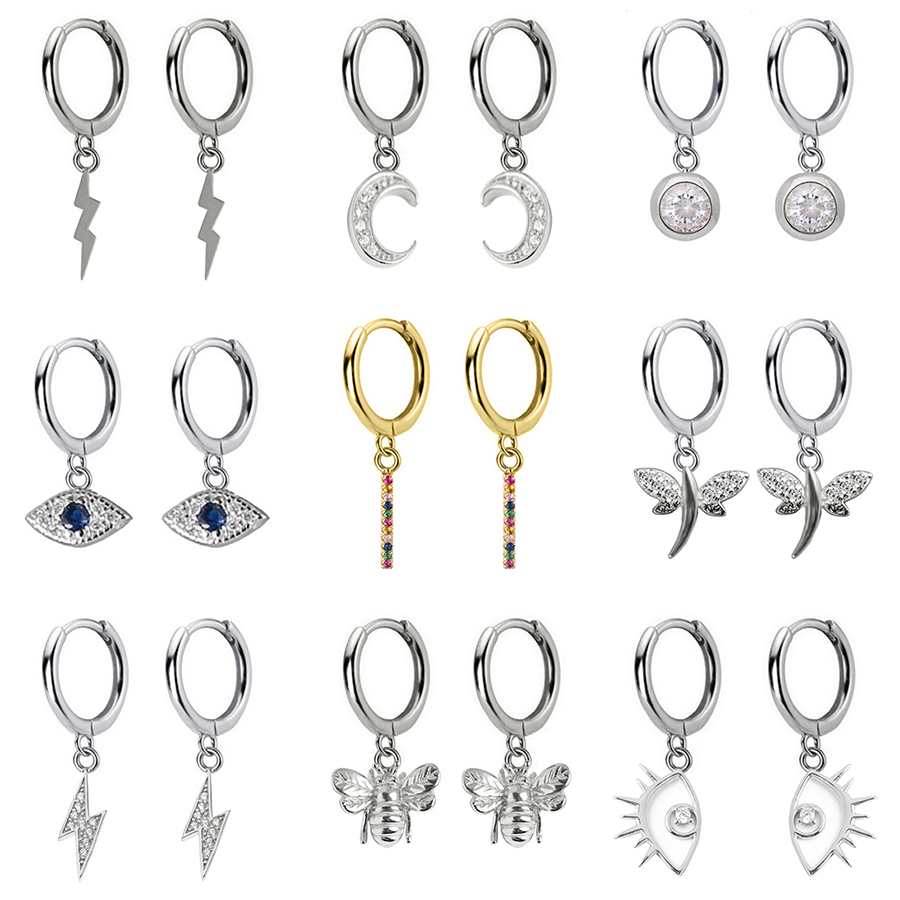 2019 New Small 925 Sterling Silver Hanging Stud Earrings For Women Lightning Moon Eye Animal Charm Small Studs Earring DA491