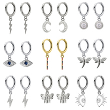 2019 New Small 925 Sterling Silver Hanging Stud Earrings For Women Lightning Moon Eye Anima