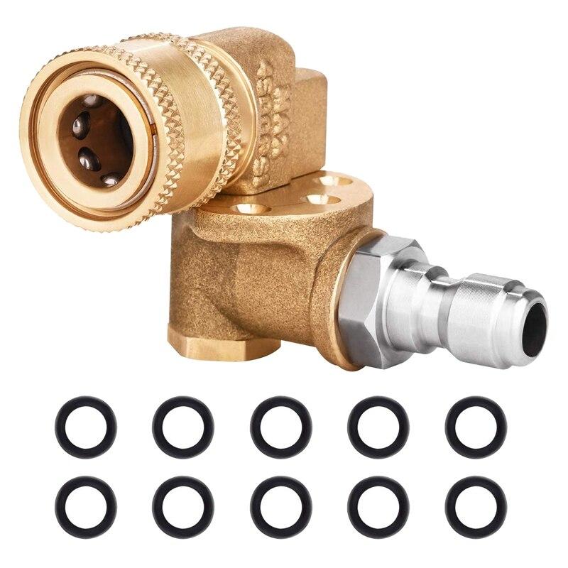 Schnell Anschluss Schwenk Koppler 180 Grad mit 5 Winkeln und Sicherheit Lock für Druck Washer Spray Düse, max 5000 PSI, 1/4 ICH
