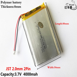 JST 2.0mm 2Pin dobra jakość 3.7 V  4000mAH 805080 polimerowy akumulator litowo-jonowy/litowo-jonowy do tabletu BANK  GPS  mp3  mp4
