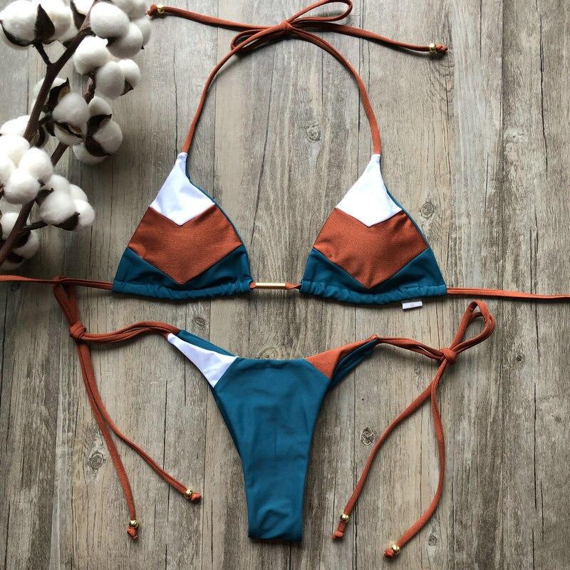 H8caee35dc6f349e5a96499ea6fb5d468j Sexy Halter Swimsuit Women Thong Micro Bikini Push Up 2019 Brazilian Bikini Tropical Plant Print Swimwear String Mini Swimsuit