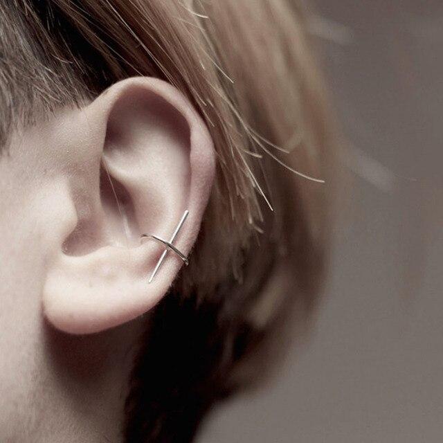 Minimalist Silver Gold Black Single Bar Cross Ear Cuff Earring Clip on Earrings Women Girl Hiphop.jpg 640x640 - Minimalist Silver/Gold/Black Single Bar Cross Ear Cuff Earring Clip on Earrings Women Girl Hiphop Cool Earcuff Jewelry