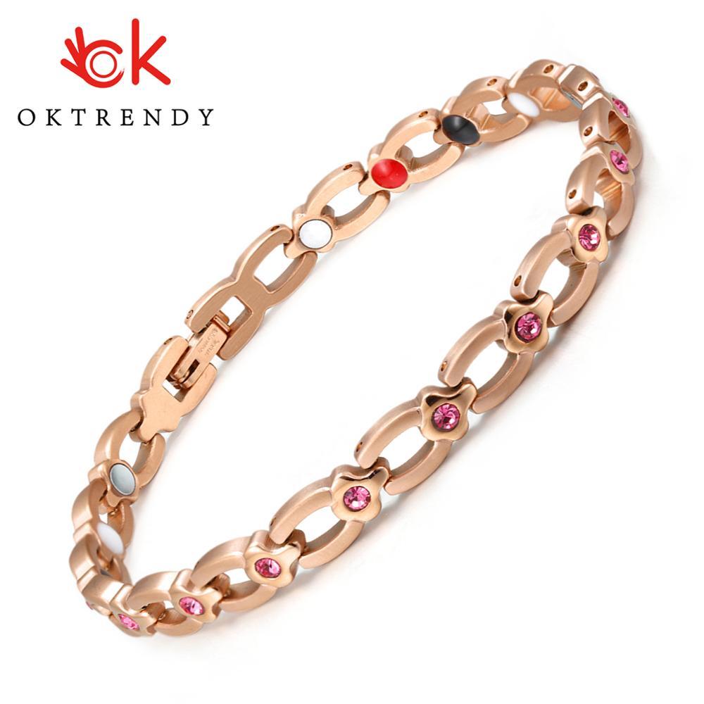 Mulher Jóia de cristal Pulseira de Saúde Energia Magnética de Aço Inoxidável Rosa de Ouro Da Moda Jóias Charme Pulseiras & Bangles Para Mulheres
