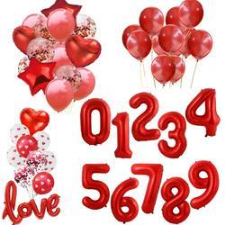 Balões laminados de número vermelho, balões de alumínio de 40 polegadas 0 1 2 3 4 5 6 7 8 9 feliz aniversário festa balão decorativo para adultos/crianças, chá de bebê/casamento